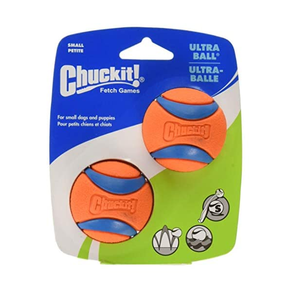 Chuckit Ultra Ball, Durable High Bounce Rubber, Launcher Compatible, 2 Pack, Small 1