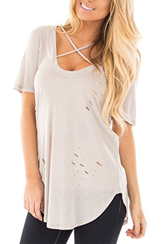 Dokotoo Womens Sleeve Ripped Casual