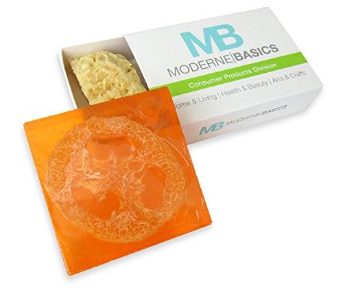 Rich Basics Coconut Moisture (MB Premium Moisturizing All Natural Scrubbing Loofah Glycerin Soap Includes Gentle Exfoliating Facial Sea Sponge (Mandarin Citrus 1X))