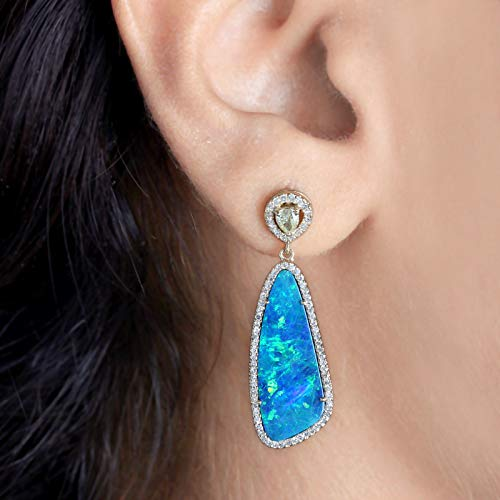 Genuine 6.77 Ct. Doublet Opal Pave Diamond Dangle Earrings Solid 14k Yellow Gold Handmade Fine Jewelry Valentine Gift For Her