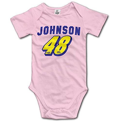 HOTOU Infant Jimmie Johnson 48 Logo Unisex Short Sleeve T-Romper (6-24 Months) Pink
