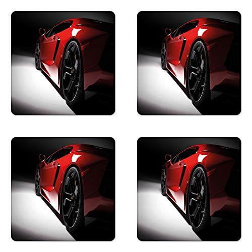 Lunarable Nursery Coaster Set of Four, Modern Speed Sport Car Fancy Vivid Toned Exquisite Stylized Automobile Image, Square Hardboard Gloss Coasters for Drinks, Black and Red