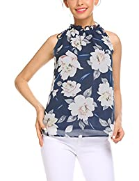 Womens Summer Chiffon Sleeveless Blouse Ruffle Halter...