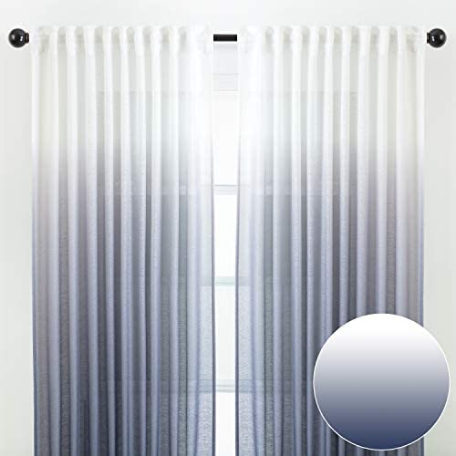Chanasya 2-Panel Gradient Ombre Faux Belgian Flax Semi Sheer Curtains