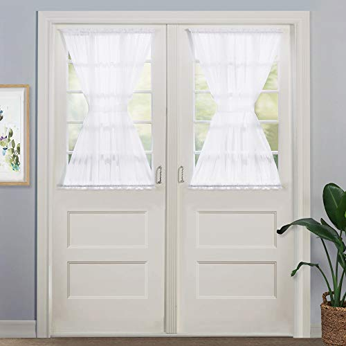 NICETOWN Door Sheer Window Panels, Front Door Curtains wih Tieback, Small Door Windowb Curtain Sheer, 40