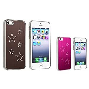Cerhinu Everydaysource compatible with Apple? iPhone? 5 / 5S: Brown Aluminum Star Rear Snap-on Hard Plastic Case + Hot...