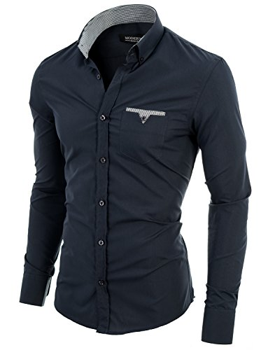 MODERNO Slim Fit Dress Shirts for Men Long Sleeve Button Down Collar Charcoal US M