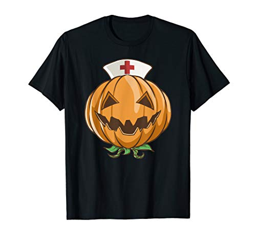 Halloween Pumpkin Nurse Shirt RN Funny Costume Scary Gift]()