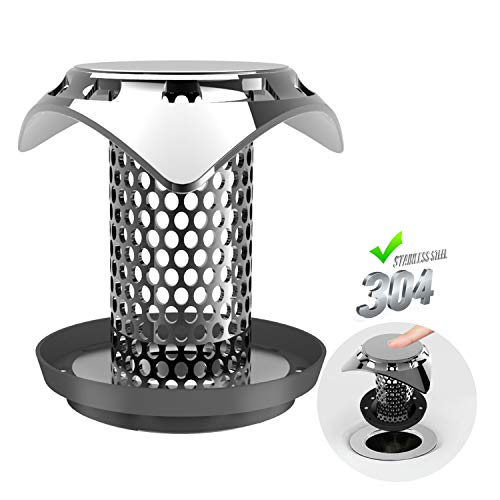 Drain Hair Catcher, Drain Strainer, QcoQce Stainless Steel Anti-rust Anti-Mold Shower/Bathtub Fast Water Drain Protector, Size from 1.35'' to 1.75'' by QcoQce