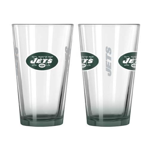 NFL New York Jets Elite Pint Glass, 16-ounce, - Glasses Ny