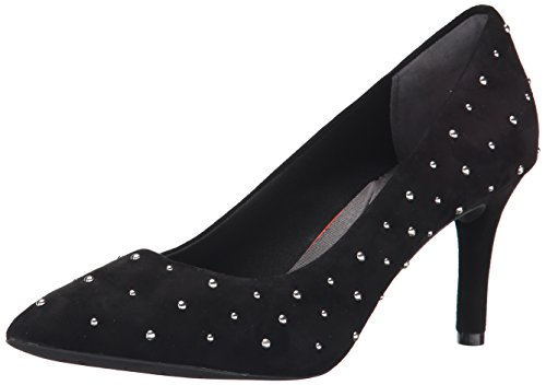 Rockport TOTAL MOTION 75 MM Pointy Toe Bomba de vestido de la mujer Negro Kid Suede Studs