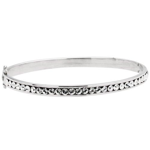"""Sterling Silver Swarovski Elements Clear Crystal Channel Bangle Bracelet, 7"""""""