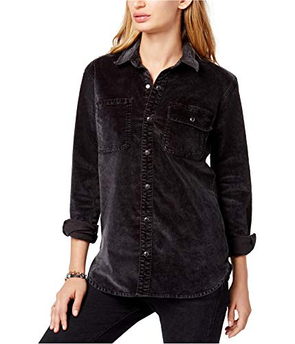 Velour Long Sleeve Jacket - Lucky Brand Womens Velour Jacket Button-Down Top Black L