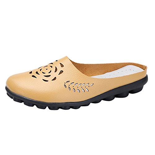 (〓COOlCCI〓Loafers for Women,Walking Shoes Women's Cowhide Leather Casual Flat Driving Loafers Driving Moccasin Shoes Yellow)