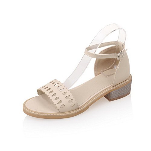 AmoonyFashion Womens Buckle PU Open-Toe Low-heels Solid Sandals Beige trVSlCDMM
