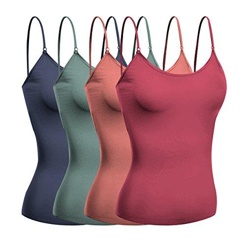 Emmalise Women Short Cami Built-in Shelf Bra - 4 Pk - Dsty Rose, Dsty Slmn, Dsty Sage, DNM Blu, S