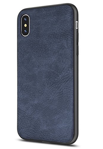 Salawat Compatible iPhone Xs Max Case, Slim PU Leather Vintage Shockproof Phone Case Cover Lightweight Premium Soft TPU Bumper Hard PC Protective Case for iPhone Xs Max 6.5inch 2018 (Blue)