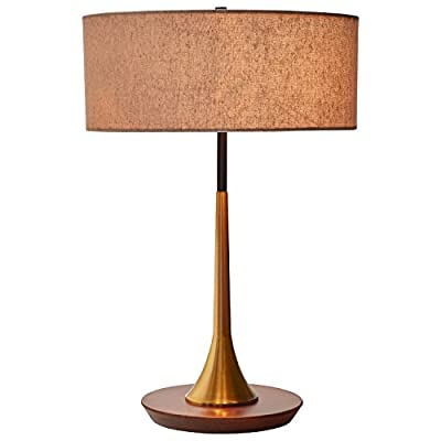 "Rivet Mid-Century Curved Brass Table Lamp, 21.7""H, Brass and Walnut - This handsome mid-century modern lamp shows off sophistication with a slightly curved brass center pole.  Rooted in a walnut base, the brass and black rod extends above the fabric shade. This lamp works well in a modern or industrial-style setting. 14.3"" Diameter x 21.7''H Base is made of walnut; brass pole and fabric shade - lamps, bedroom-decor, bedroom - 41 kv5dJa0L. SS400  -"