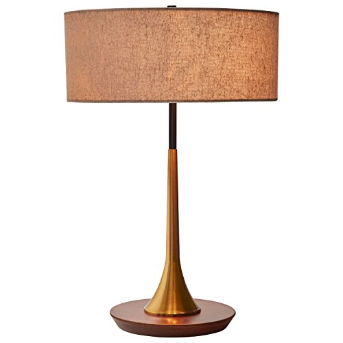 Rivet Mid Century Curved Brass Table Lamp 21 7 H Brass And Walnut