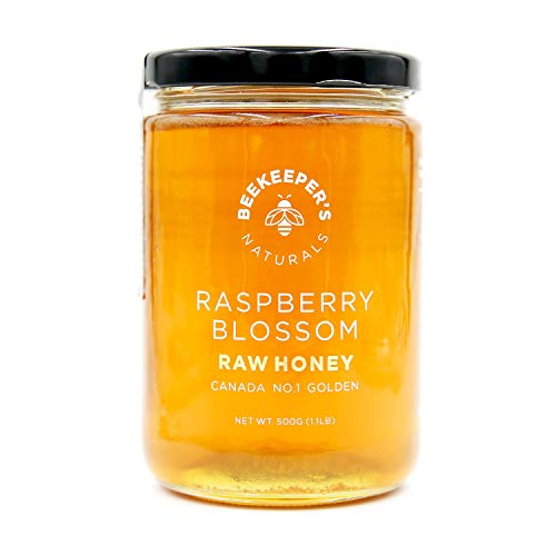 Raspberry Blossom Raw Honey by Beekeeper's Naturals | 500g of 100% Pure, Sustainably Sourced Enzymatic Honey | Gluten Free and Paleo Friendly (Organic Canadian Raw Honey)