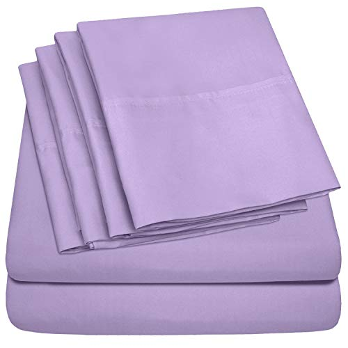 Full Size Bed Sheets - 6 Piece 1500 Thread Count Fine Brushed Microfiber Deep Pocket Full Sheet Set Bedding - 2 Extra Pillow Cases, Great Value, Full, Lavender (Size Full Set Bed Chevron)