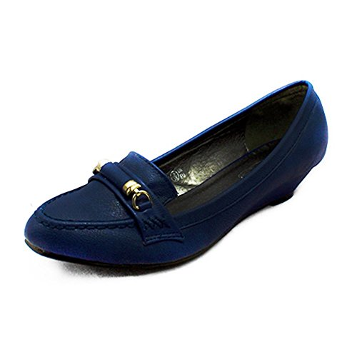 Corte Azul Pie SendIt4Me Baja Talón de Cuña marino Dedo Puntiagudo Zapatos del qfvAzHwx