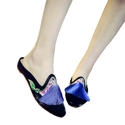 Chuangli Womens Ricamo Mocassino Piatto Mocassini Stile Cinese Dramma Nappa Casual Appartamenti Pantofole Sandali Neri
