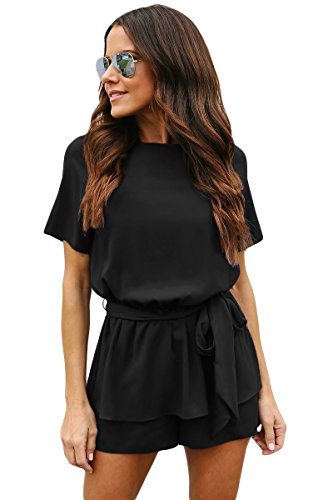 QUEENIE VISCONTI Short Sleeve Jumpsuits for Womens Juniors Summer Casual Elastic Waist Tie Rompers Black M