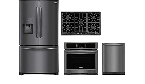 FGGC3645QB 36 Natural Gas Cooktop Frigidaire 4-Piece Kitchen Package with FGHD2368TD 36 Fridge FGEW3065PD 30 Elec Single Wall Oven and FGID2479SD 24 Built in Dishwasher in Black Stainless Steel