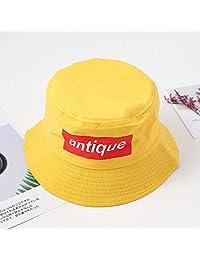 ZSAIMD Creativa Panamá Pescador Hat for Hombres como for Mujeres Imprimir Carta Bordado Unisex de Hip Hop Plegable Casquillos de la Pesca al Aire Libre (Color : Yellow)