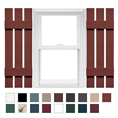 "Mid-America Board-N-Batten 12"" 3 Board Spaced Vinyl Standard Shutter - 1 Pair - 12 x 39 027 Burgundy Red"