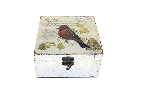 running HLYM4872 Caja Decorativa de Madera y Vidrio