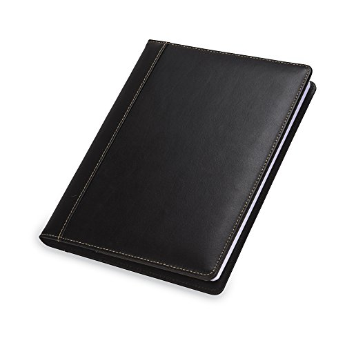 Samsill Contrast Stitch Refillable Leather Writing Journal Notebook, Large Size - 7.5 Inch x 10 Inch, 120 Ruled Sheets (240 Pages), Black