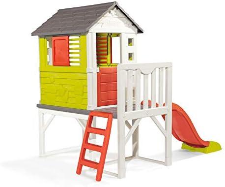 Smoby Maison Pilotis Cabane De Jardin Enfant Toboggan Echelle 810800 Amazon Fr Jeux Et Jouets
