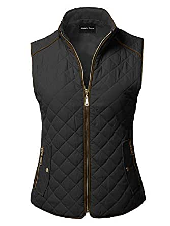 Made by Emma Casual Quilted Suede Piping Details Gold Zipper Padding Vest Black S