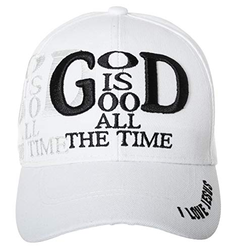 Artisan Owl God is Good All The Time Hat Religious Christian Gift - 100% Cotton Embroidered Cap (White)