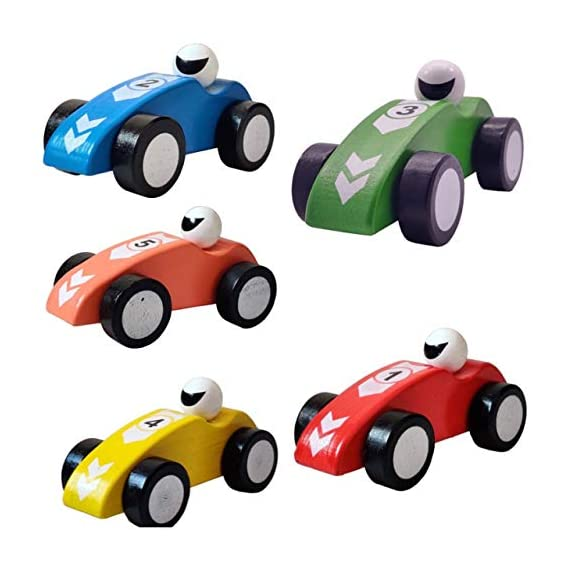 HIGHFIELDS - Formula Racing Car- (Pack of 2) - Pull & Push Along Wooden Toy for Boys & Girls - Best for Birthday Return Gifts - (Multi-Colour) - 14CM X 7CM