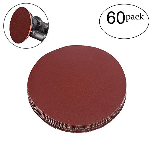 g Discs NO-Hole Hook and Loop 400 Grit Sandpaper Aluminum Oxide Random Orbital Sander Pads (60-Pack) ()