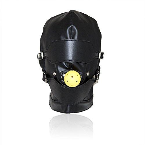 FeiGu PU Leather Mask Hood Mouth Gag Ball Bondage Blindfold Sex Toys Fetish Erotic T23 by FeiGu