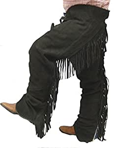 Derby Originals Kids Suede Full Chaps with Fringe (Black, Small)