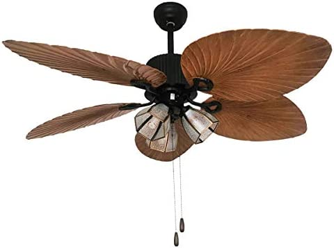 Palm Island Bali Breeze Ceiling Fan, Five Palm Leaf Blades, Tropical Style, 52 , Bronze With Rope Switch 3 Lights