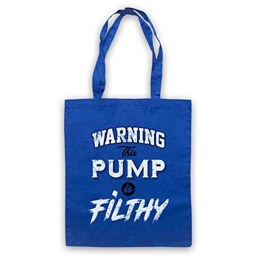 Warning This Pump Is Filthy Bodybuilding Workout Slogan Sac d'emballage Bleu