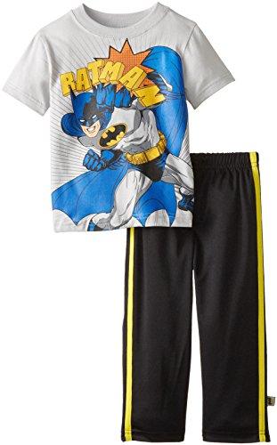 Warner Brothers Little Boys' Warner Toddler Batman Tricot Pant Set, Gray, 2T