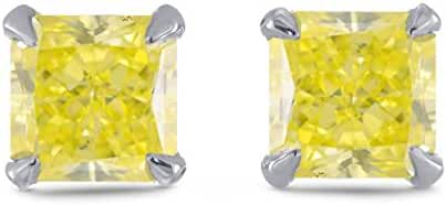 0.96Cts Yellow Diamond Stud Earrings Set in Platinum GIA Certificate