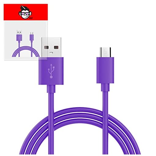 3 Pin UK USB Mains Charger Adapter 1000 mAh / 1 AMPwith USB 2.0 Micro USB Sync and Charge Cable 1 Meter for Amazon Fire HD 8 8″ Inch – PURPLE
