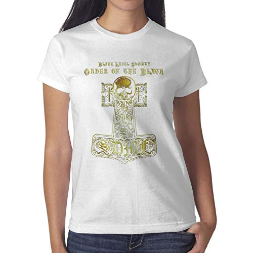 Black-Label-Society-Skull- Womens Cotton Blend Short Sleeve t Shirts