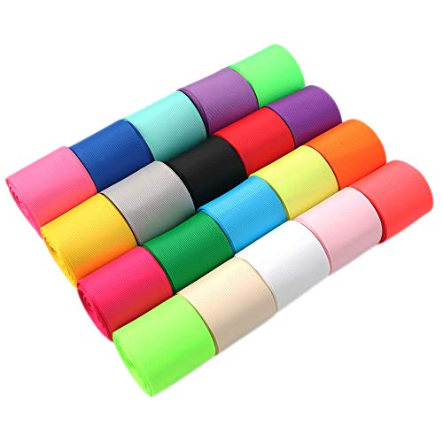 David accessories Grosgrain Ribbon Roll Set Solid Color 100 Yards 2'' for Gift Package Wrapping,Hair Bows Clips Making,Crafting,Sewing Wedding Party Decor (2