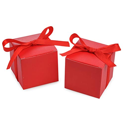 AWELL Red Gift Candy Box Bulk 2x2x2 inches with Red Ribbon Party Favor Box,Pack of 50