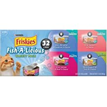 Friskies Fish-A-Licious Cat Food Variety Pack 32-5.5 oz Cans, 8 each: Savory Whitefish & Sardines, Savory Shreds Salmon in Sauce, Tasty Ocean Fish Tuna & Cheese, & Prime Filets with Salmon & Beef