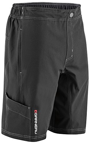 (Louis Garneau Men's Range Mountain Bike Padded MTB Cargo Shorts, Black,)
